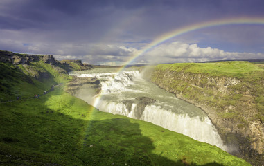 Gulfloss Waterfall with rainbow in Iceland