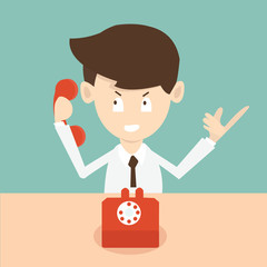 businessman with phone - cold calling