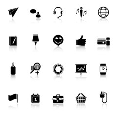 Technology gadget screen icons with reflect on white background