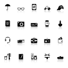 Travel luggage preparation icons with reflect on white backgroun