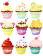 set of cute polka dot cupcakes