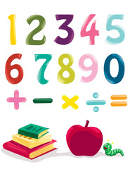 number, books and apple