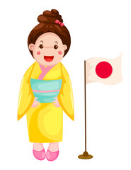 cute Japanese girl in traditional dress
