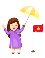 cute Vietnamese girl in traditional dress