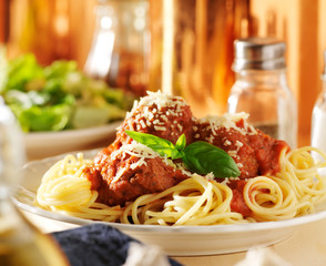 plate of italian spaghetti and meatballs