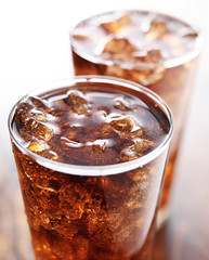 two glasses of cola soft drink