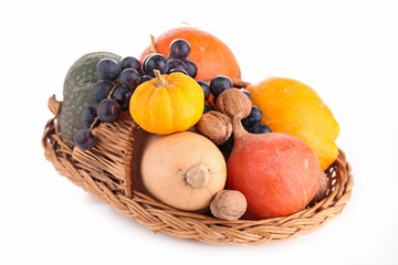 fruit and vegetable on wicker basket