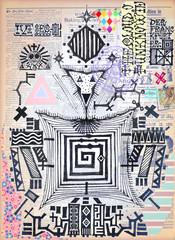 Vintage scrapbook with esoteric symbols