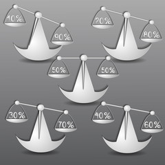бумажные весы на сером фоне