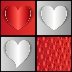 бумажные сердца на сером и красном фоне