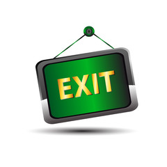 Exit icon label emergency green sign