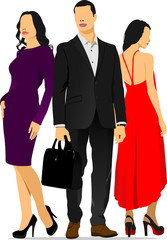 Young handsome man and two young women. Businessman. Business wo