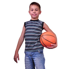 smiling boy, basketball player posing with a ball