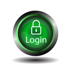 Green round Glossy Login icon vector