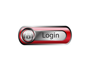 Red button login icon vector