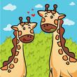 vector cartoon of giraffe eating grass