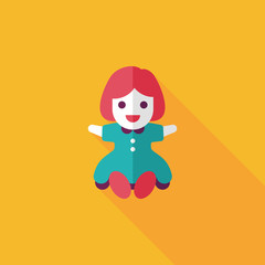 girl doll toy flat icon with long shadow,eps 10