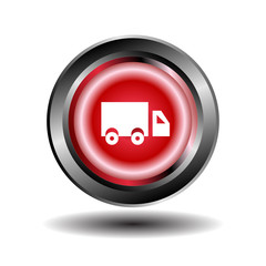 Truck icon Red round button
