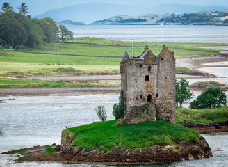 Panoramic view of Stalker Castle, Highlands, Scotland