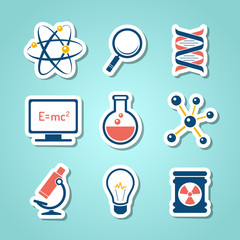 Chemistry and  science paper cut icons