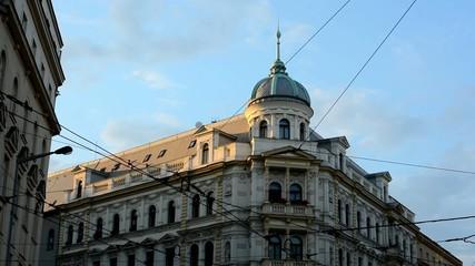 vintage building - blue sky - sunset - lines