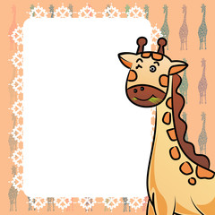 Giraffe and frame texture vector illustrator background