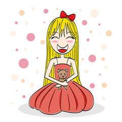 cartoon girl hugging a teddy bear