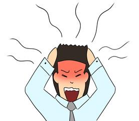 cartoon color salary man expression migraine