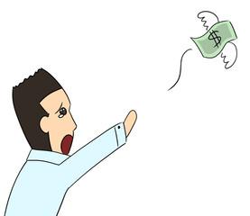cartoon color salary man expression money away
