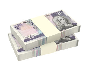 Scotland money isolated on white background.