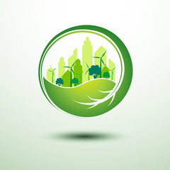 green city concept inside the leaf ,vector illustration