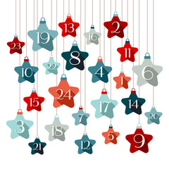 Advent Calendar Stars Blue/Red Shadow