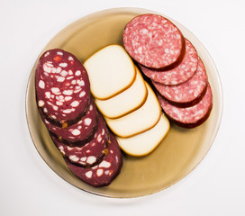 Juicy sausage and smoked cheese