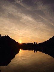 Fluss Sonne Abend