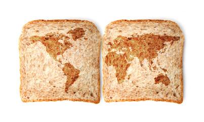 Weltkarte auf dem Toast