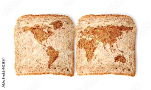 Fotobehang Brood Weltkarte auf dem Toast