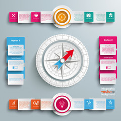 White Compass 4 Options Big Infographic 2 Circle Banners