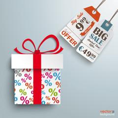 Paper Gift Percents 2 Price Sticker