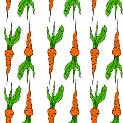 Vegetable seamless background vith carrot pattern.