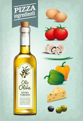 Huile d'olive - Ingrédients pizza - Texture Vintage