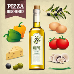 Olive oil - Pizza ingredients - Vintage background