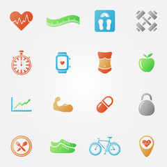 Bright fitness icons set