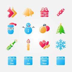 Bright set of christmas icons