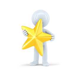 3d man holding golden star. Isolated. Contains clipping path