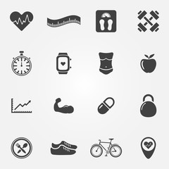 Fitness black icons set