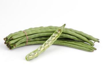 Fresh yardlong green bean on a white background