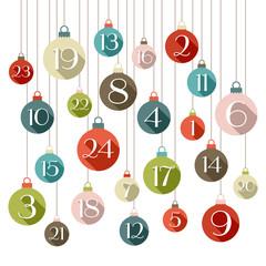 Advent Calendar Christmas Balls Retro Shadow