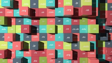 Colorful background with cubes and domain extensions