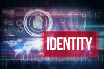 Identity against blue technology design with binary code