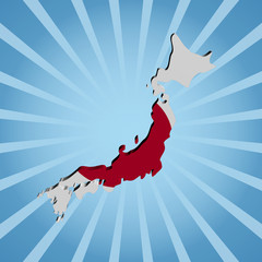 Japan map flag on blue sunburst illustration